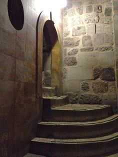 A photo taken inside the Church of the Holy Sepulchre in Jerusalem. These steps lead up to Golgotha, the site of Christ's crucifixion. It is a place of great emotion, spirit and prayer.