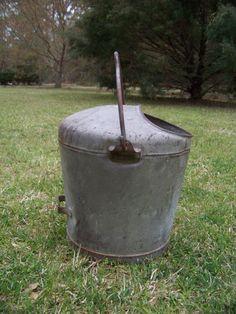 Vintage Steel Cream Bucket...Atlantic Metal Ware...Milk Dairy Pail...Rustic...Farm...Barn...Salvaged...Garden Planter...Farmhouse..Country