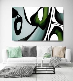 Mid Century Abstract 12. Mid-Century Modern Green Black Canvas