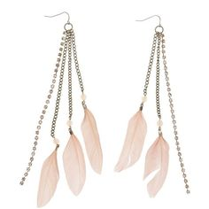 Charlotte Russe Feather Fringe Earrings ($6) ❤ liked on Polyvore featuring jewelry, earrings, blush, charlotte russe earrings, fringe jewelry, charlotte russe, boho chic jewelry and bohemian style earrings