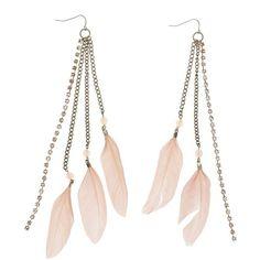 Charlotte Russe Feather Fringe Earrings ($6) ❤ liked on Polyvore featuring jewelry, earrings, blush, fish hook earrings, bohemian jewelry, rhinestone jewelry, bohemian style earrings and fringe earrings
