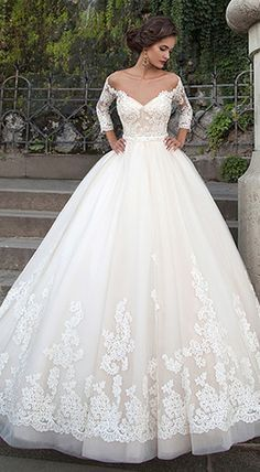 Attractive Tulle Bateau Neckline Ball Gown Wedding Dresses With Lace Appliques - Hochzeitskleid - brautkleid Princess Bridal, Princess Wedding Dresses, Best Wedding Dresses, Bridal Dresses, Bridesmaid Dresses, Trendy Wedding, Princess Style, Sheer Wedding Dress, Lace Wedding Dress With Sleeves