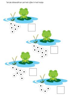 Tel de kikkerdril en zet het cijfer in het hokje [jufleontine.com] Montessori Math, Preschool Curriculum, Kindergarten Literacy, Preschool Math, Fun Learning, Teaching Kids, Sapo Frog, Dyslexia Activities, Frog Theme