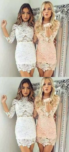 Tight Homecoming Dresses,Scalloped-Edge Homecoming Dresses,White Homecoming Dresses,Pearl Pink Homecoming Dresses,Short Homecoming Dresses,Lace Homecoming Dresses,Sleeves Homecoming Dresses,Homecoming Dresses 2017,Dresses For Teens,Graduation Dresses 2017