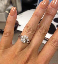 Paw print diamond wedding & engagement set