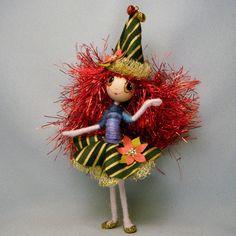 Santas Little Christmas ELF with Poinsettias ooak by WistfulFaerie