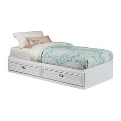 Ameriwood™ Twin Mates Federal White Storage Bed at Big Lots.   For  basement office as window bench seat...love storage !!! $120 big lots.  Just add mattress...no box springs?