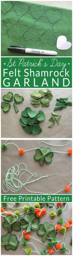 Make a fun and easy St. Patrick's Day Shamrock garland using felt, bakers twine and premade pom poms. Free printable pattern!