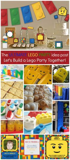 The ULTIMATE LEGO PARTY blog post: ALL THE BEST IDEAS, you wont need to look anywhere else! Lego party decor, lego food, lego birthday game ideas, lego party invitations and much more! Lego Batman Party, Lego Party Games, Lego Parties, Lego Party Foods, Lego Birthday Party, Children Birthday Party Ideas, Lego Birthday Banner, Lego Banner, 7th Birthday