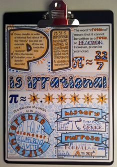 Pi Doodle Notes Sheet - This would be perfect for Pi Day!