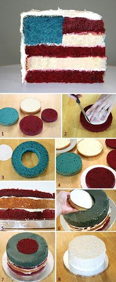 How to make Flag Cake. Idea: white choc chips or sprinkles in blue cake batter to look like stars?