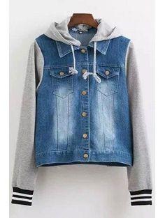 #Zaful - #Zaful Long Sleeve Casual Hooded Denim Splicing Coat - AdoreWe.com