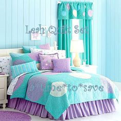 NEW Girl Aqua Purple TWIN QUILT Polka Dots Bubbles Shams Skirt Pillows+ Set $330