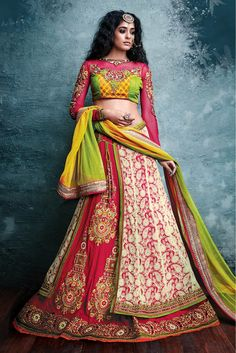 Cream and Pink Colour Art Silk and Net Fabric 3 Pcs Designer Lehenga Choli Comes With Matching Blouse and Dupatta. This Lehenga Choli Crafted With Embroidery,Resham Work,Zari Work. The Lehenga Is Semi...