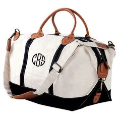 Monogrammed Canvas Weekender Duffle with by elrileyembroidery