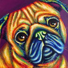 Original Pug dog painting on canvas  colorful 12 x