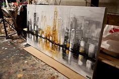 Texture de ville gratte-ciel moderne de 48 x 24 peinture