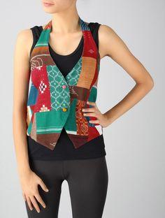 Boheme Halter-Neck Patchwork Jacket-S Kurti Designs Party Wear, Kurta Designs, Blouse Designs, Jacket Style Kurti, Kurti With Jacket, Shrug For Dresses, Kurti Patterns, Jacket Pattern, Jackett