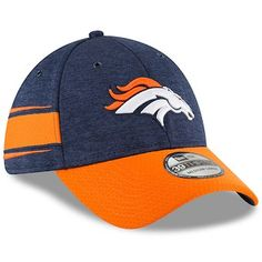 491acbe8b489 Men s New Era Navy Orange Denver Broncos 2018 NFL Sideline Home Official  39THIRTY Flex Hat