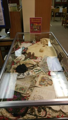 """1 Dec 2015 Theme: """"Christmas Memories""""  This case contains a wonderful collection of items from the late 1800s to the early 1900s. On loan from Gail Meloy."""