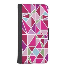Stylish Pink Prism Abstract Diamond Pattern Phone Wallet by BagHunter