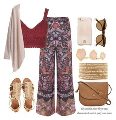 Boho Summer Outfit. Printed Pants, Crochet Top, Gladiator Sandals, Tory Burch Accessories