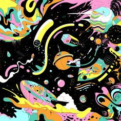 An animated loop and a design for a knot wrap inspired by space, made for Lush Cosmetics Harajuku Animal Floats, Bugs, Psychedelic Art, Aesthetic Wallpapers, Graphic Illustration, Vector Illustrations, Magazine Covers, Game Art, Art Decor