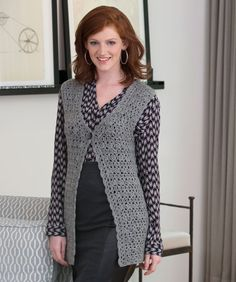 A crocheted lace vest adds the perfect touch to any outfit. Plus, the wool yarn keeps you warm in cool offices.