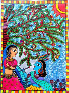 Items similar to Radha Krishna Painting ,Original Painting, Madhubani Design / Indian Art / Indian Painting on Etsy - Radha Krishna Painting Original Painting Madhubani by TinkerOwl - Madhubani Paintings Peacock, Madhubani Art, Indian Art Paintings, Original Paintings, Original Art, Indian Folk Art, Krishna Painting, Art Corner, Acrylic Wall Art