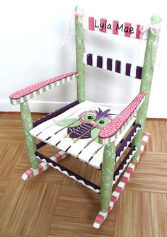 Hand Painted Child Rocking Chair, Custom Painted, Owl Rocking Chair, Personalized Rocking Chair, Nursery Decor, Girl or Boy, Shower gift.