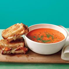 The perfect soup-and-sandwich pairing is tomato and grilled cheese. This version stirs pesto into the soup and adds bacon to the sandwich for an ideal lunch or dinner for one.