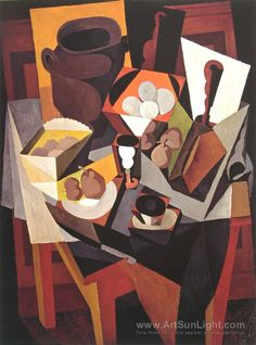 Still life with bread and fruit - Diego Rivera
