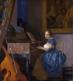 A YOUNG WOMAN SEATED AT A VIRGINAL, c. 1670-1672 | Vermeer
