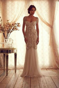 Anna Campbell Gossamer collection vintage classic gatsby beaded embellished sheath wedding gown dress
