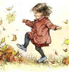 shirley hughes art.   We had leaf walks. Mum called it 'making a memory'. And it did.