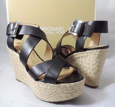 Women's  Michael Kors CELIA MID WEDGE Espadrille Sandals Leather Black Size 6.5 #MichaelKors #Strappy