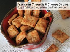 Homemade Cheez-Its {healthier version} only 6 ingredients!!  Made with whole wheat flour and reduced fat cheese!  YUMMY
