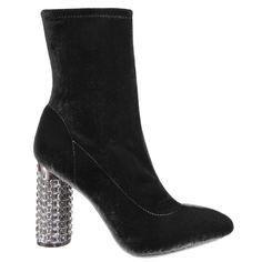 BLACK Nina Shoes, Velvet, Toe, Closure, Booty, Zipper, Heels, Shopping, Black