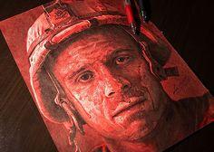 Memorial Day Ink Pen Portrait Drawing by Julio Lucas