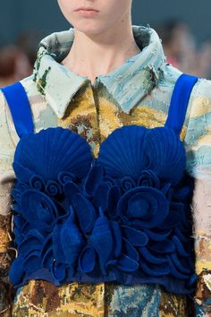 Royal Blue, Seashells dreams, Couture perfections! John Galliano for Maison Margiela F/W 2015 Artisanal, Look 21 ,Model Grace Simmons (Next)