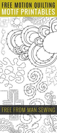 """FREE FMQ Motif Printables - several """"drills"""" to learn new methods. From """"MAN SEWING"""" who has other tutes and pdfs, too."""