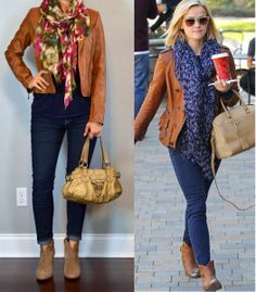 outfit post: brown leather jacket, navy t-shirt, skinny jeans, ankle boots