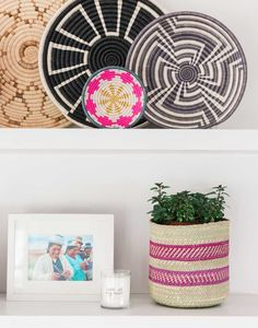 Fair Trade Small Woven Bowl - Bright Pink | The Little Market