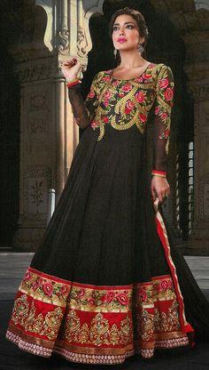 $118.82 Black Zardosi Work Faux Georgette Floor Length Anarkali Salwar Suit 26043