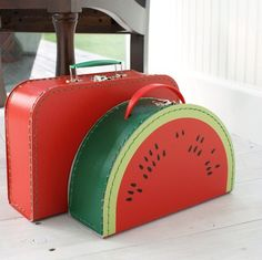 red vintage style suitcases-if I would have seen this watermelon suitcase back in the day...it would have been mine!