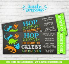 Printable Chalkboard Reptile Party Ticket Birthday Invitation | Critter Squad Party | Petting Zoo Party | Alligator, Snake, Lizard, Frog, Turtle | Kids Reptile Show Event | Banner | Favor Tags | Signs | Food and Drink Labels and More! www.dazzleexpressions.com