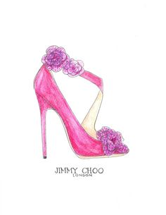 Hand Drawn Jimmy Choo Pink and Purple Watercolor High Heel by Zoia, $18.00