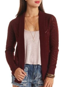 Pointelle Knit Open Cardigan Sweater: Charlotte Russe