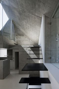 Floating the concrete stairway