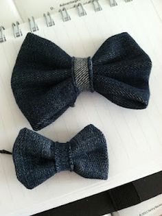 Denim bow for hair,  bags, etc. Easy to make with old jeans!